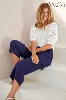 M&Co Ivory Jacquard Puff Sleeve Top