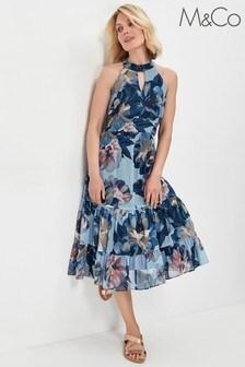 M&Co Blue Floral Shimmer Halter Neck Tiered Dress