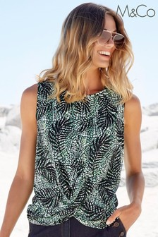 M&Co Green Palm Print Cross-Over Top