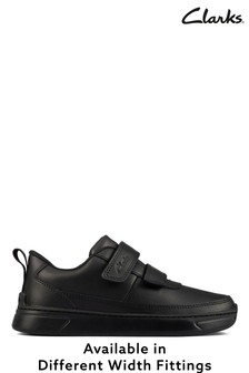 Clarks Black Leather & Patent Velcro Fastening Shoes