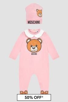 Moschino Kids Baby Girls Pink Sleepsuit Set