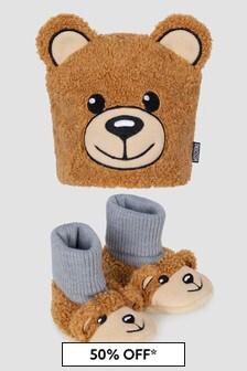 Moschino Kids Baby Unisex Brown Hat Set