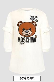 Moschino Kids Baby Girls White Dress