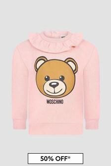 Moschino Kids Baby Girls Pink Sweat Top