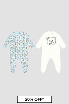 Moschino Kids Baby Boys Blue Sleepsuit