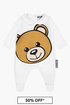 Moschino Kids Baby Unisex White Sleepsuit
