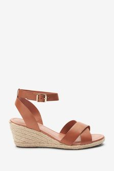 Signature Leather Cross Over Wedge Sandals