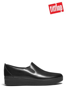FitFlop Black Rally Slip-On Leather Shoes