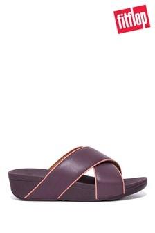 FitFlop Purple Lulu Pop Binding Leather Cross Slides