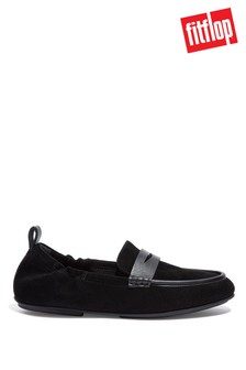 FitFlop Black Allegro Suede Penny Loafers
