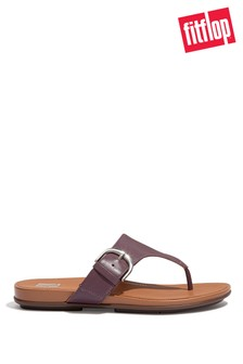 FitFlop Purple Gracie Buckle Leather Toe Post Sandals