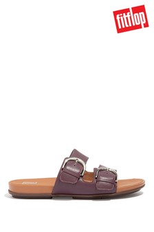 FitFlop Purple Gracie Buckle Leather Sliders