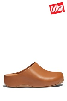 FitFlop Tan Shuv Leather Clogs