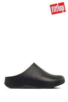 FitFlop Black Shuv Leather Clogs