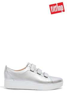 FitFlop Silver Rally Strap Metallic Leather Shoes