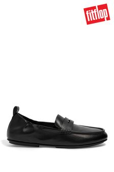 FitFlop Black Allegro Metallic Leather Penny Loafers