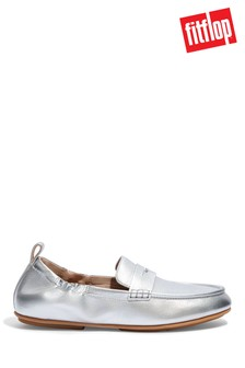 FitFlop Silver Allegro Metallic Leather Penny Loafers