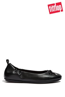 FitFlop Black Allegro Bow Leather Ballet Pumps
