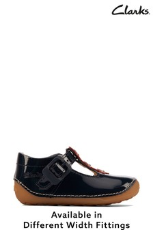 Clarks Navy Patent T-Bar Shoes With Flower Detail