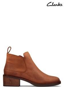 Clarks Dark Tan Lea Memi Zip Boots
