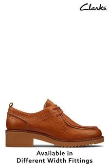 Clarks Dark Tan Lea Eden Mid Lace Shoes