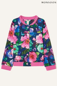 Monsoon Rose Print Floral Bomber Jacket