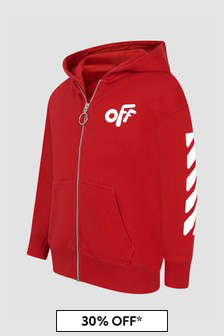 Off White Boys Red Sweat Top