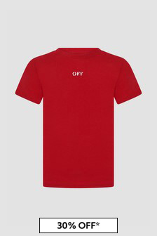 Off White Boys Red T-Shirt