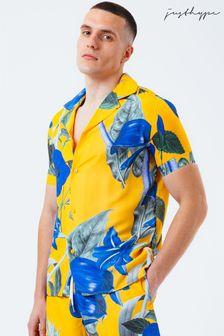 Hype. Mens Yellow Hawaii Sun Resort Shirt