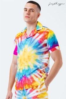 Hype. Mens Yellow Tie Dye Resort Shirt