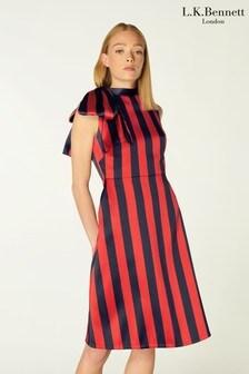L.K.Bennett Tiggy Striped Bow Jacquard Dress