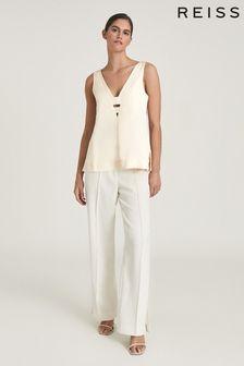 REISS Camel Emi Linen Blend V-Neck Top