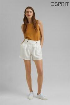 Esprit Paper Bag Waistband Linen Shorts