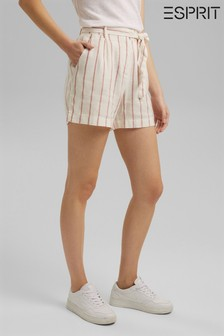 Esprit Linen Mix High Waisted Belted Shorts