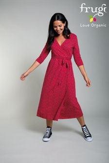 Frugi Organic Red Jolie Maternity & Nursing Wrap Dress