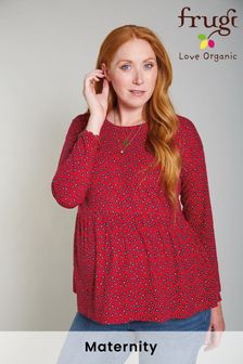 Frugi  Organic Red Ditsy Laila Maternity Top