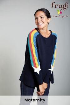 Frugi Navy Rainbow Star Organic Maternity & Nursing Jumper