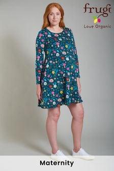 Frugi Organic Green Floral Maternity Tunic Dress