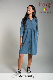 Frugi Organic Chambray Maternity & Nursing Shirt Dress