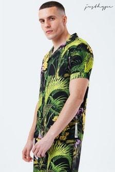 Hype. Mens Green Jungle Flower Resort Shirt
