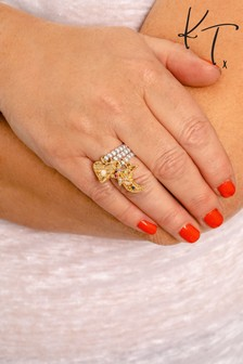 Kate Thornton Gold/Silver Tone Delicate Stacking Rings With Ethereal Charms 3 Pack