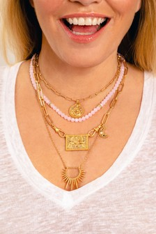 Kate Thornton Gold Tone And Rose Quartz Effect Multi-Layer Necklace With Celestial Charms