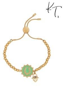 Kate Thornton Gold Tone Friendship Bracelet With Enamel Horseshoe Charm