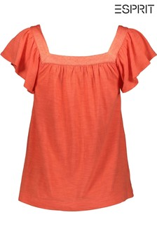 Esprit Red T-Shirt With Flounce