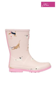 Joules Pink Jnr Roll Up Flexible Printed Wellies