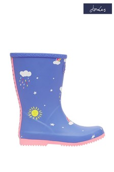 Joules Blue Jnr Roll Up Flexible Printed Wellies