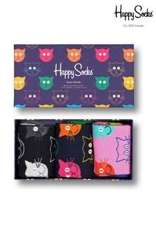Happy Socks Mixed Cats 3 Pack Gift Box