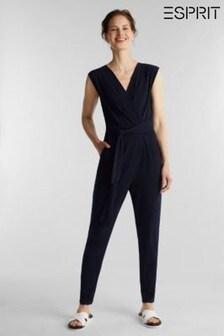 Esprit Blue Wrap Stretch Jersey Jumpsuit