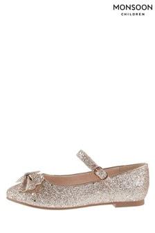 Monsoon Glitter Scallop Bow Ballerina Flat Pumps