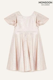 Monsoon Foil Spot Flutter Sleeve Dress